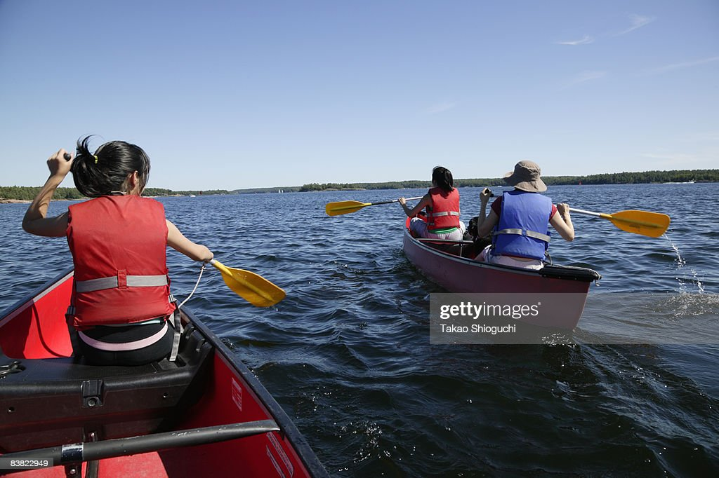 Two canoes on a lake : Stock Photo
