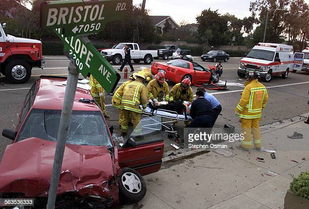 A two car accident on Bristol Road and Antelope Ave in Ventura sent the two drivers to the hospital with serious injuries A man driving a red...