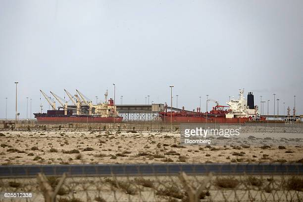 Two cargo ships sit at the Ras AlKhair port to service the Ras Al Khair Industrial City operated by the Saudi Arabian Mining Co in Ras Al Khair Saudi...