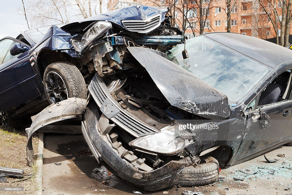 two cars car broken during road accident : Stock Photo