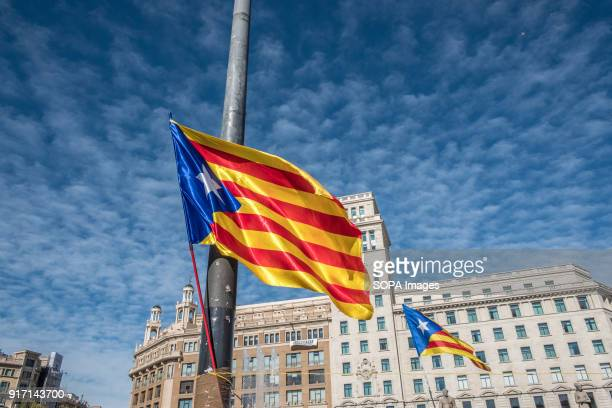 Two Catalan proindependence flag seen flying at the Plaza Cataluña Several tents occupy the Plaza Catalunya in Barcelona to claim Carles Puigdemont...