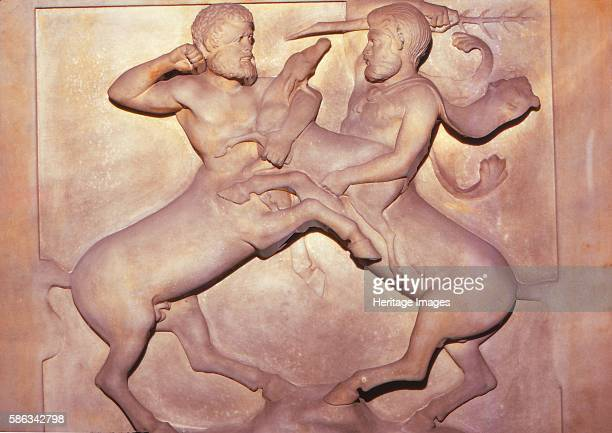 Two Centaurs Fighting over a Young Deer Late 5th century BC Detail from end panel of Lycian Sarcophagus from the Royal Necropolis Sidon A centaur is...