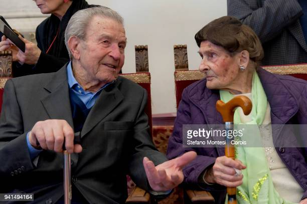 Two centenarian women chat before meeting with the Mayor of Rome Virginia Raggi at the Capitoline Hill who meets the citizens of Rome who celebrated...