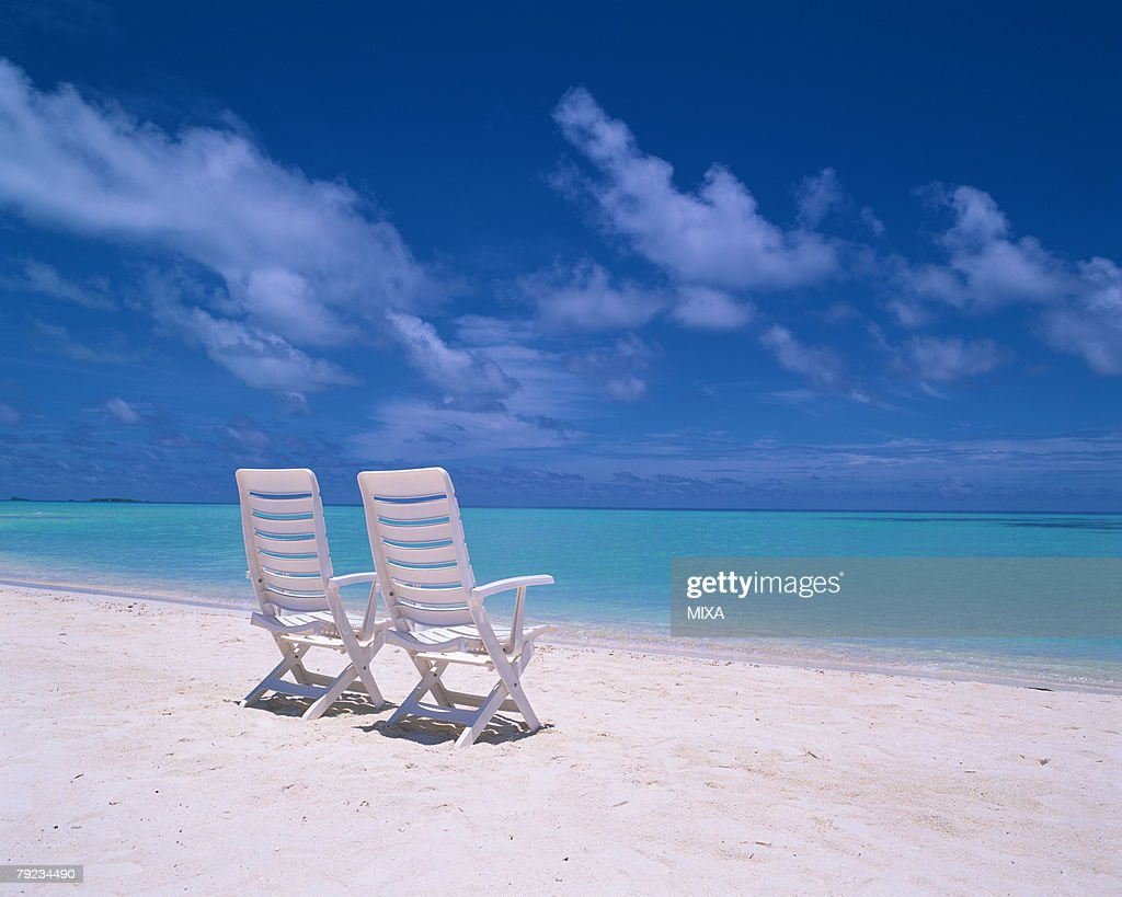 Two chairs in a beach, Maldives : Stock Photo