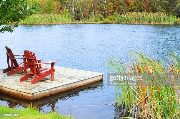 Two Chairs Sitting By A Small Lake