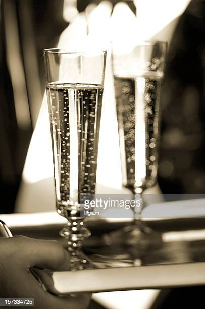 two champagne glasses on tray - gala stock pictures, royalty-free photos & images