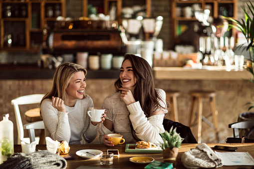 Two cheerful women having fun during coffee time in a cafe. 1130595856