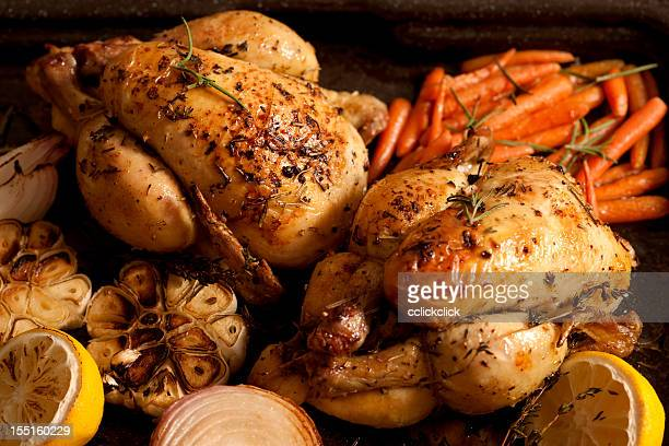 Two chicken roasts with carrots, onions and lemons