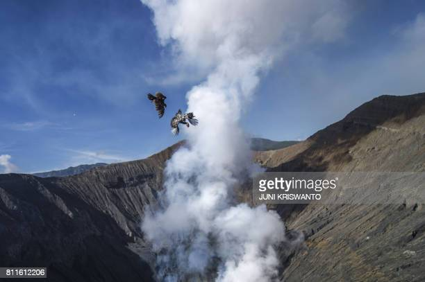 Two chickens are thrown into mount Bromo crater by members of the Tengger tribe as offerings to Sang Hyang Widhi during the Yadnya Kasada Festival in...