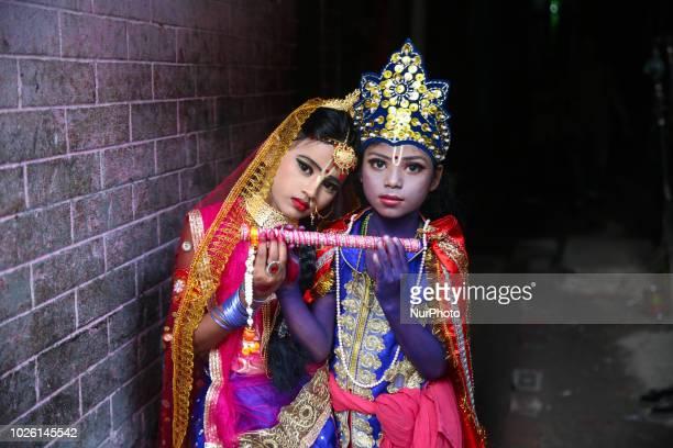 Two children dress as 'Krishna' and 'Radha' during the Janmashtami festival in Dhaka Bangladesh September 2 2018