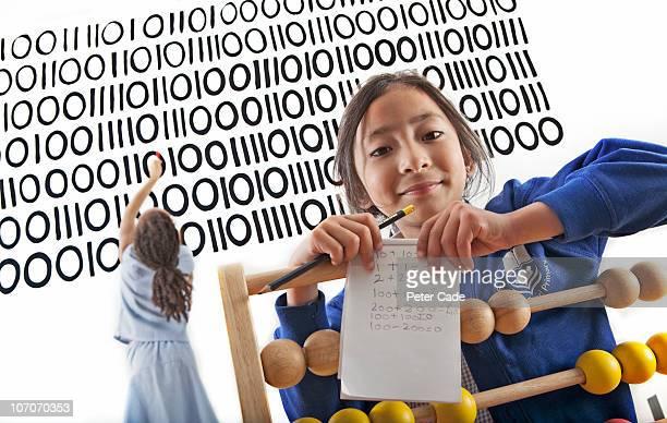 two children in learning environment - ciência e tecnologia imagens e fotografias de stock