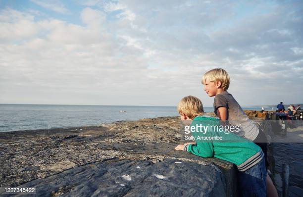 two children looking at the view together - beach stock pictures, royalty-free photos & images
