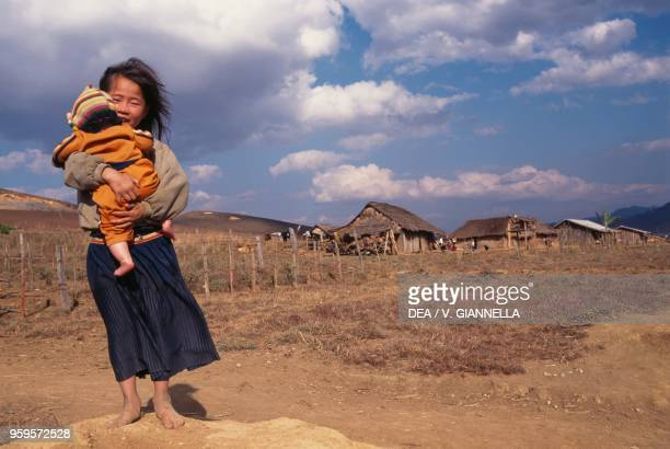 Two children of Hmong people in a village in the Plain of Jars Laos