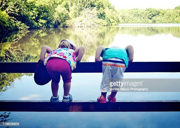 Two Children on a Fence by Lake