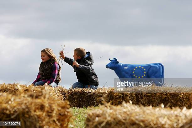 Two children play in a field next to a replica cow painted in blue and decorated with the stars of the European flag as part of a milk farmers'...