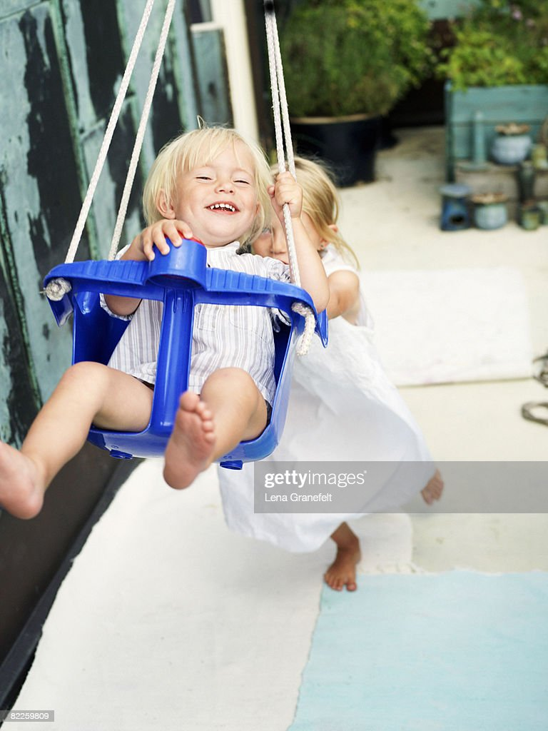 Two children playing Stockholm Sweden. : Stock Photo