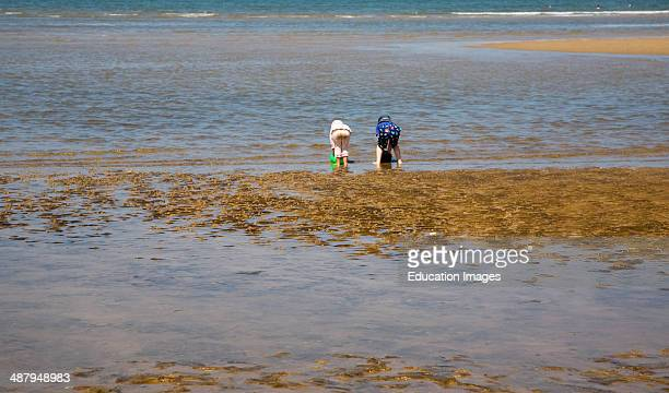 Two children playing with buckets in the sea at Hunstanton north Norfolk coast England