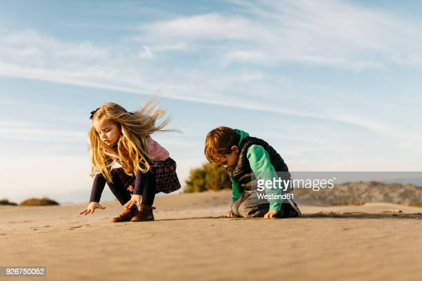 Two children playing with the sand on the beach in winter