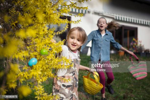 two children running in a back yard searching for easter eggs - chasse aux oeufs de paques photos et images de collection