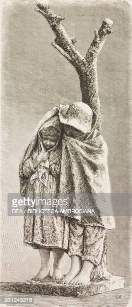 Two children taking shelter from the rain terracotta sculpture by Raffaele Belliazzi drawing by Francesco Paolo Michetti engraving from...