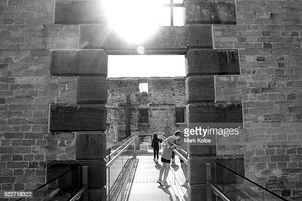 Two children walk on the viewing platform built within the Penitentiary of the Port Arthur Historical Site on April 18 2016 in Port Arthur Australia...