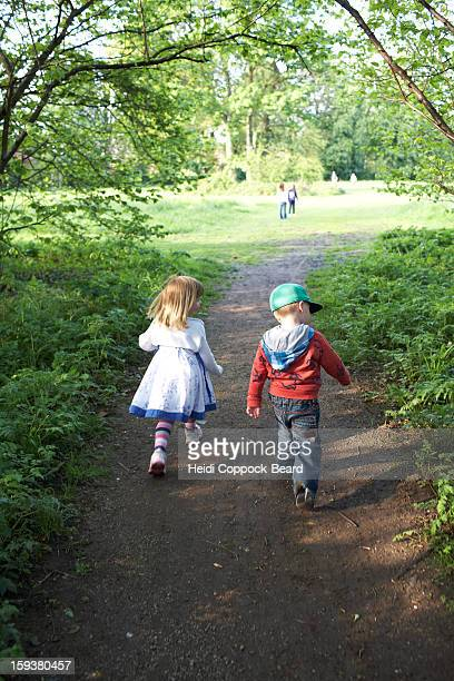 two children walking through forest - heidi coppock beard stockfoto's en -beelden