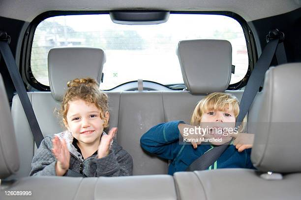 Two childrens pulling funny faces