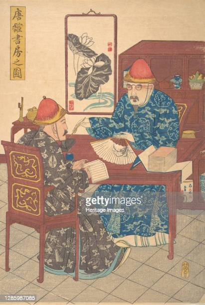 Two Chinese Scholars Practicing Calligraphy in Their Studio, circa 1840. Artist Unknown.