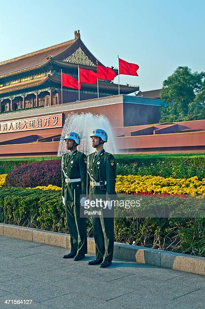 Two Chinese Soldiers in Tienanmen Square Forbidden City Beijing