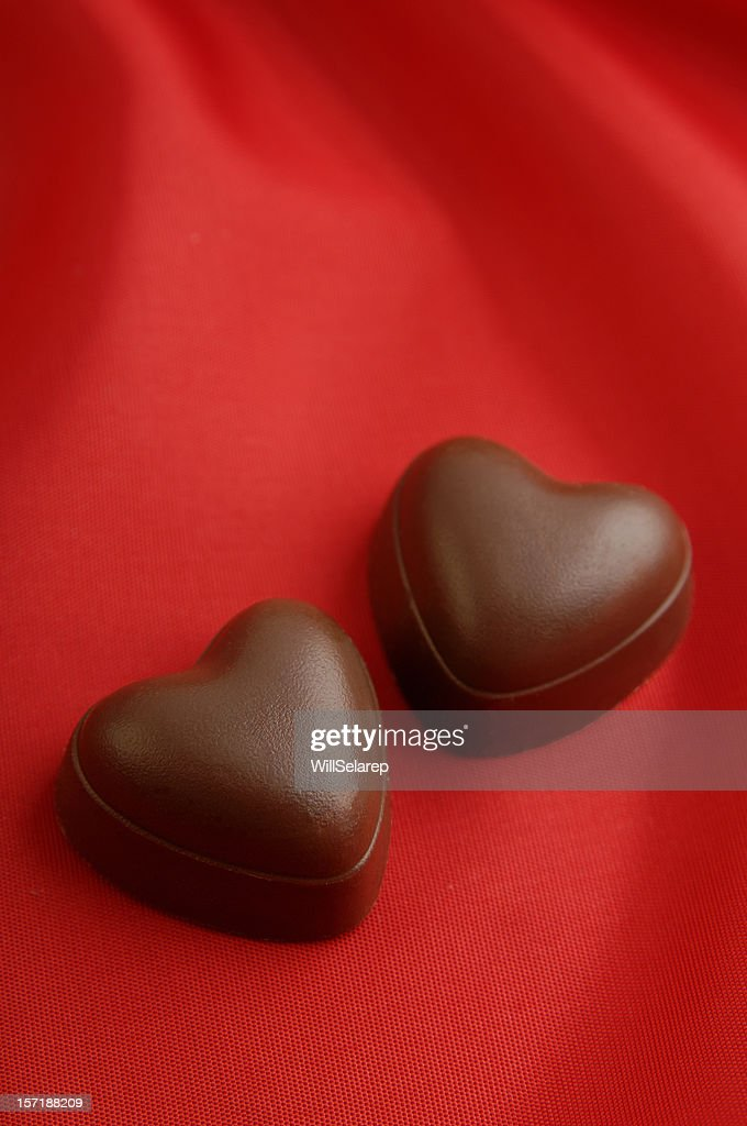 Two chocolate heart's : Stock Photo