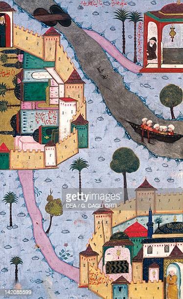 Two cities of the Ottoman Empire during Suleiman the Magnificent's sultanate Below Bursa Miniature from a manuscript Turkey 16th Century