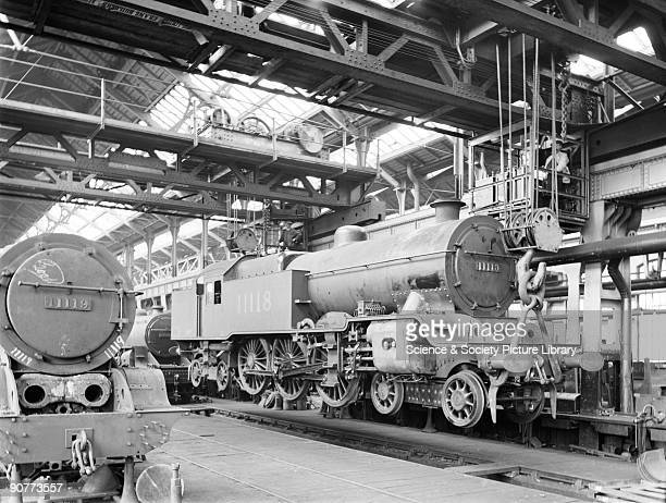 Two class P1 464 locomotives number 11118 and 11119 in Horwich works erecting shop This shop was where the locomotives were put together It was...