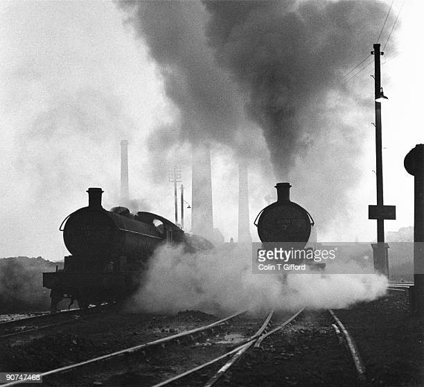'Two Class Q6 0-8-0 steam locomotives, Numbers 63398 and 63351, prepare for the day?s work in the West Auckland Shed Yard'. Photograph by Colin T...