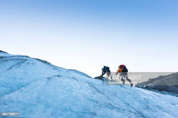 Two climbers on an Icelandic glacier.