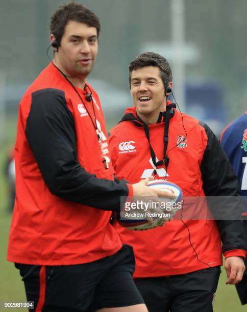 Two coaches Richard Blaze and Anthony Allen share a joke during England U20 Media Access at Bisham Abbey on January 9 2018 in Marlow England