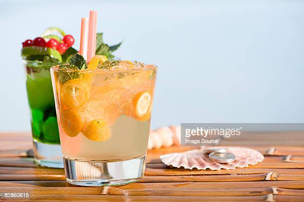 two cocktails - crushed leaves stock pictures, royalty-free photos & images