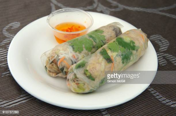 Two cold chicken rice paper rolls and sweet chili dipping sauce on a white plate set on a floral patterned tablecloth