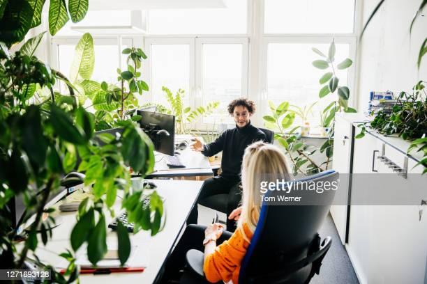 two colleagues discussing work at their desks - umweltschutz stock-fotos und bilder
