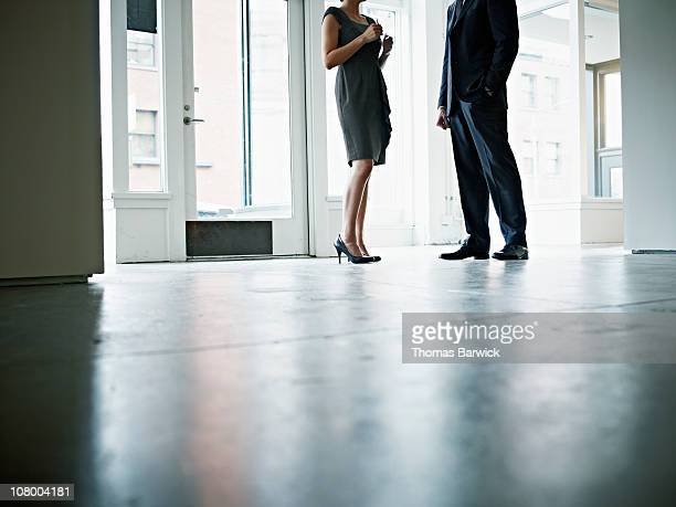 Two colleagues standing in office space