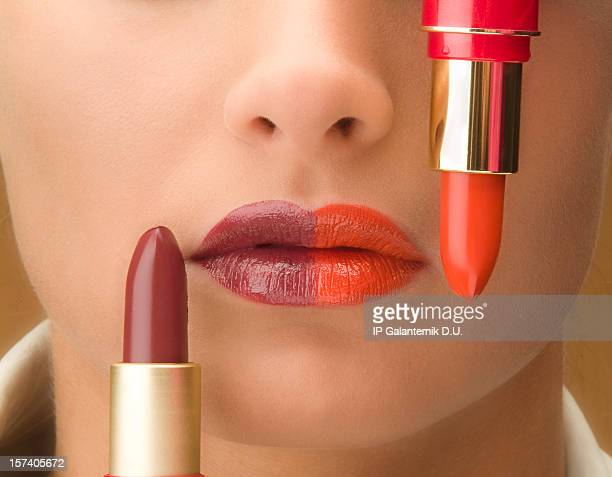 Two color lips and corresponding colors of lipstick
