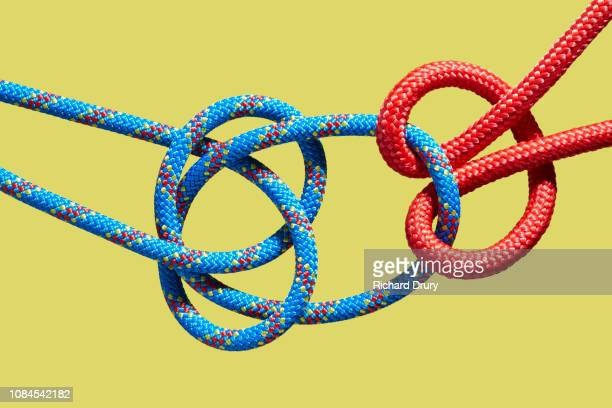 Two coloured ropes knotting together