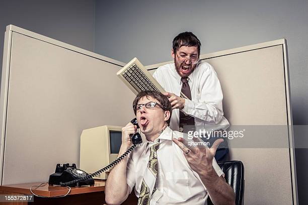 Two Comical Nerdy Office Workers, Goofing Off