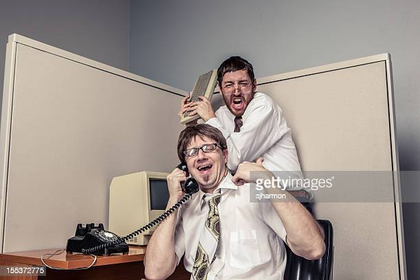 Two Comical Nerdy Office Workers, on Phone and Fighting