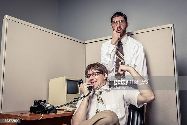 Two Comical Nerdy Office Workers, Silly Behavior