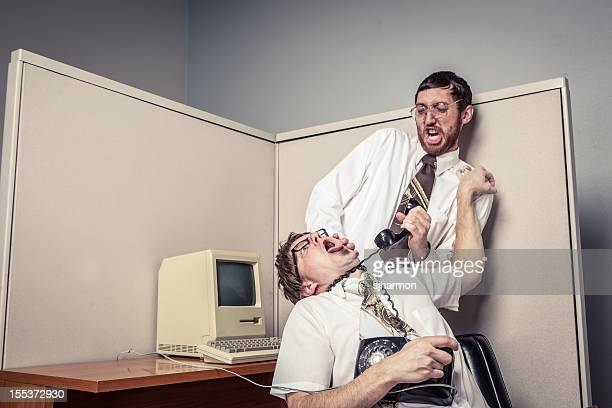 Two Comical Nerdy Office Workers, Strangling with Phone Chord