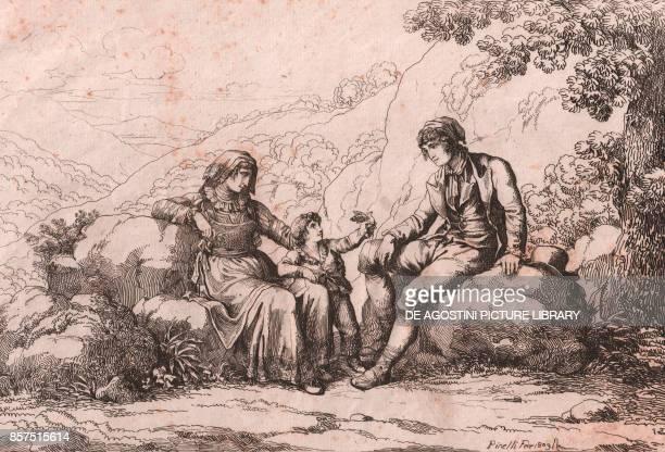 Two commoners with a baby Schiavi Abruzzo etching by Bartolomeo Pinelli 21x30 cm from Raccolta di cinquanta costumi pittoreschi incisi all'acquaforte...