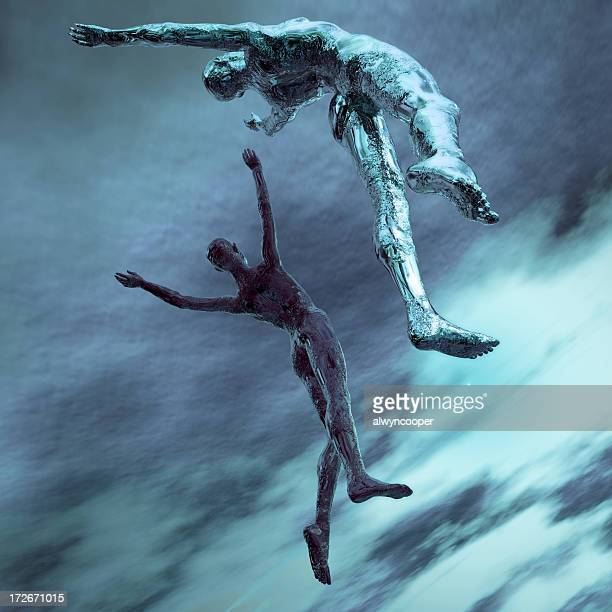Two computer drawn avatars leaping into the sky in blue
