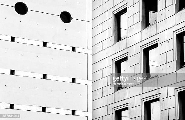 Two concrete facades