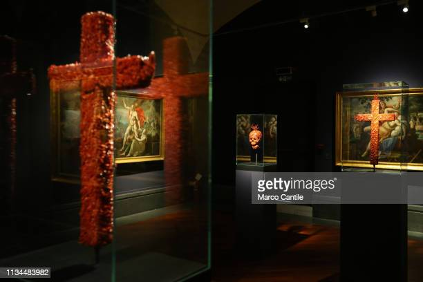 Two coral crosses and a skull by the artist Jan Fabre in the Red Gold exhibition in the Capodimonte museum in Naples