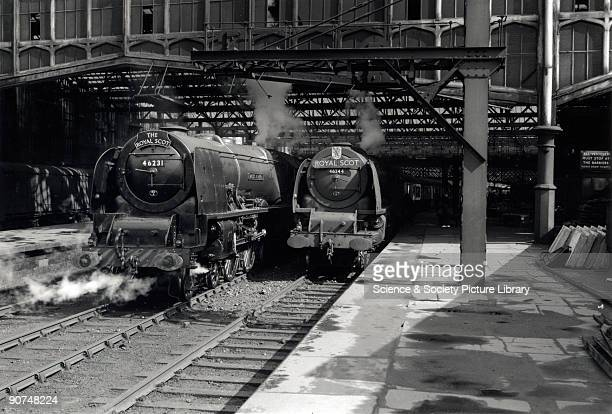Two Coronation Class steam locomotives at Carlisle Citadel station Cumbria Princess Coronation Class steam locomotive No 46231 'Duchess of Atholl'...